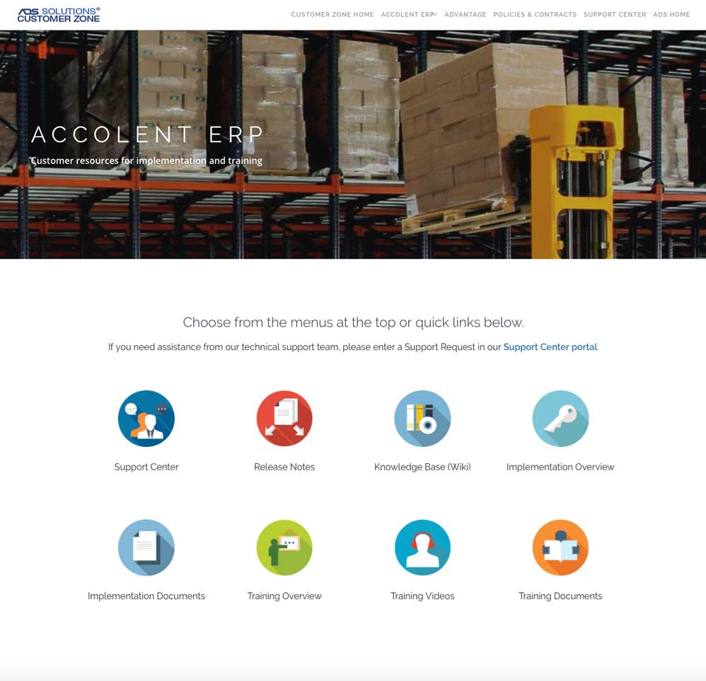 Accolent ERP Customer Portal
