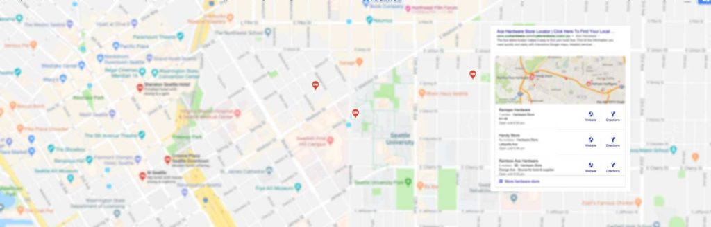 map showing search results from google my business
