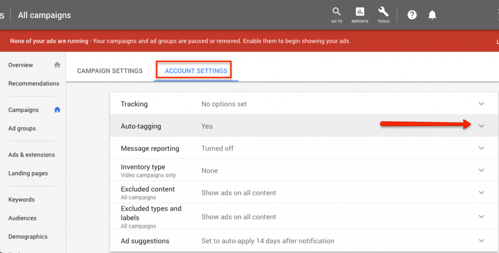 how to enable autotagging in google ads account settings